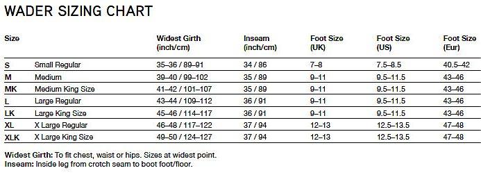 greys wader size chart